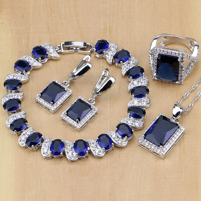 925 Sterling Silver Jewelry Blue Jewelry Sets For Women