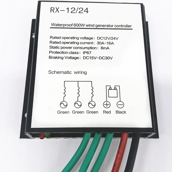 Upgraded battery charge controller for 100-600w wind turbine generator, waterproof wind controller 12V/24V auto distinguish