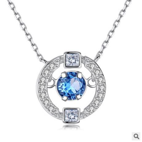 Everoyal Charm Crystal Blue Pendant Necklace For Women Jewelry Vintage Silver 925 Girls Clavicle Necklace For Girls Accessories in Pendant Necklaces from Jewelry Accessories