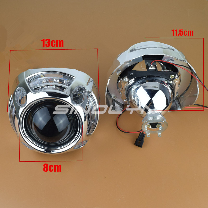 Sinolyn Angel Eyes Led Car Projector Lens Hid Kit Bi Xenon Retrofit