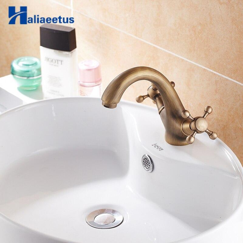 Robinet de salle de bain en laiton Antique double poignées robinet d'eau finition bronze Antique robinet de lavabo en laiton Antique robinet de lavabo en laiton