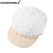 SHOWERSMILE Newsboy Cap For Woman White Lace Straw Hat Summer Female Elegant Baker Boy Cap Patchwork Flat Top Ladies Pearl Hat straw baker boy hat