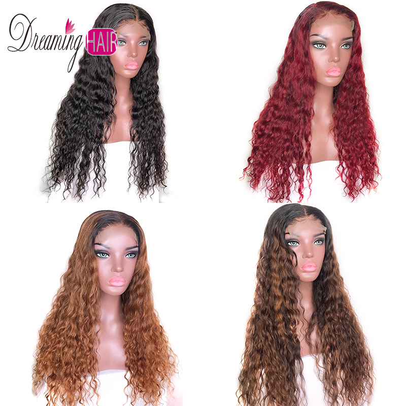 150% Density 13x6 Curly Lace Front Human Hair Wig For Black Woman Pre Plucked Brazilian Ombre Blonde Red Wigs With Baby Hair