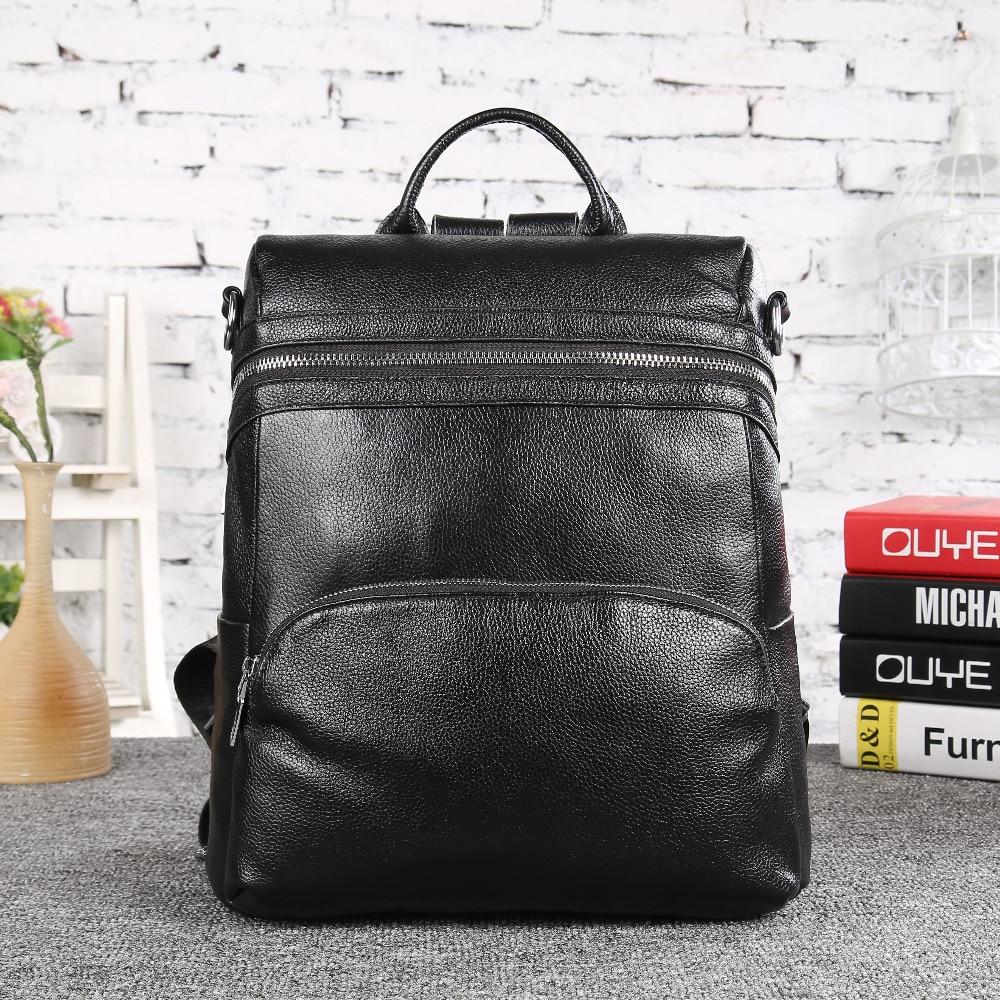 ФОТО High Quality Women 100% Cow Genuine Leather Bag Ladies Korean Style Backpack Tote Bag Girl School Backpack Black TravePurse 8633