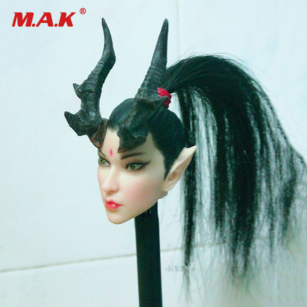 1/6 Scale Pale Dragon Lady Female Head Sculpt Carving with Long Hair for 12 Phicen Action Figure Toys full set figure for collectiion 1 6 pale doll plmb2014 s01 phicen female gril young lady seamless body for 12 ph with head