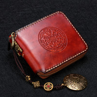Short Cow Leather Delicate Pendant Wallets Embossing Bag Purses Women Men Clutch Vegetable Tanned Leather Wallet Card Holder