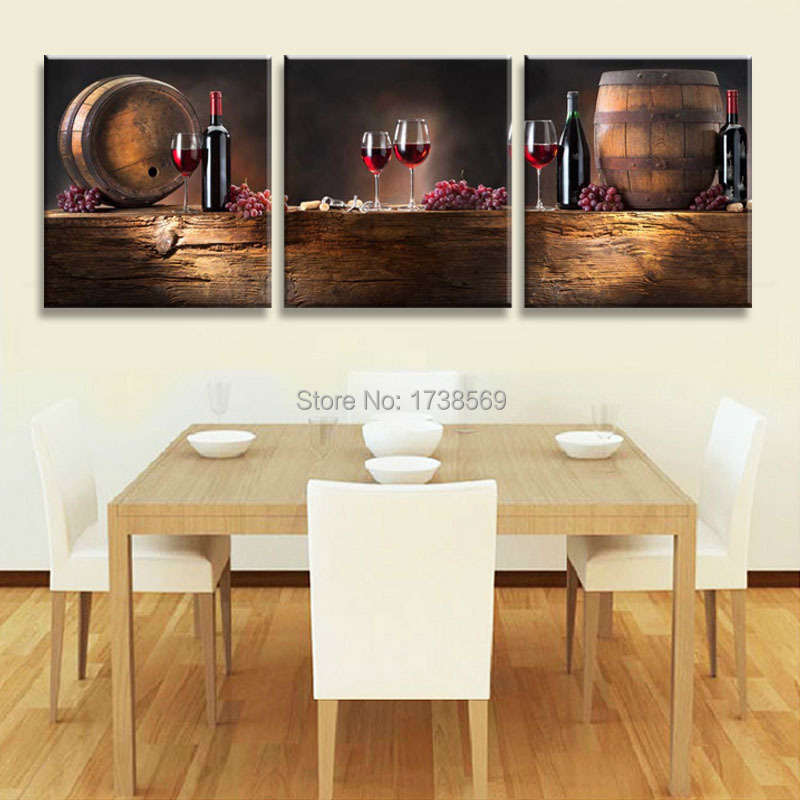New Arrival Wall Art Picture 3 Panel Modern Home Decoration Red Wine Canvas Print Oil Painting Printed On For Dining Room