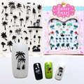 Kawaii Nail Sticker Creative 3D Water Transfer Nail Stickers Palm Trees Island Series Exotic Nail Art Decals DIY Manicure