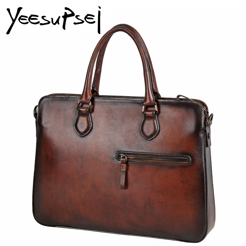 YeeSupSei Vintage Genuine Cowhide Leather Briefcase Men Luxury Business Laptop Tote Bag Casual Hard Handle Shoulder Bag Handbag