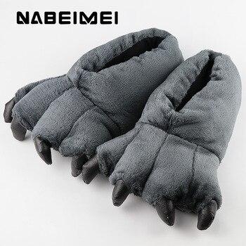 Krótkie pantofle pluszowe zimowe dla mężczyzn buty wewnętrzne totem niedźwiedzi pazur 2019 trendy syntetyczne stado męskie pantofle duży rozmiar 42-45