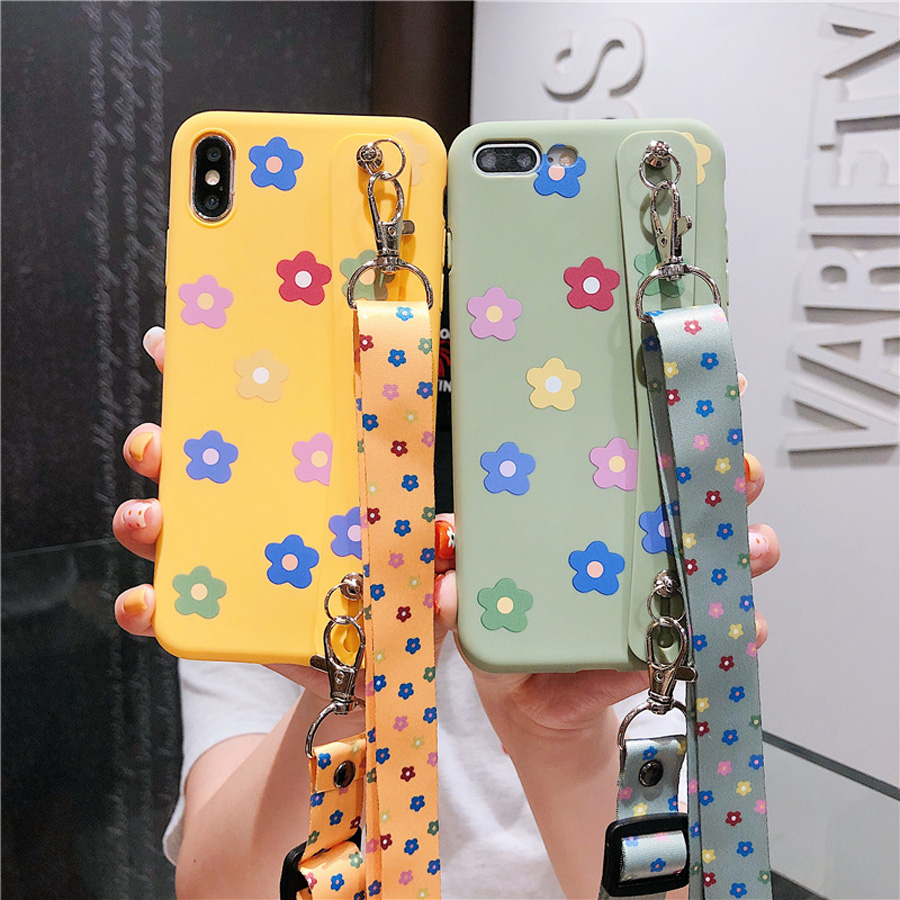ins flower shoulder strap silicon case for iphone 8 7 6s 6 plus XR XS MAX X case cover fashion floral soft wristband holder phon in Fitted Cases from Cellphones Telecommunications