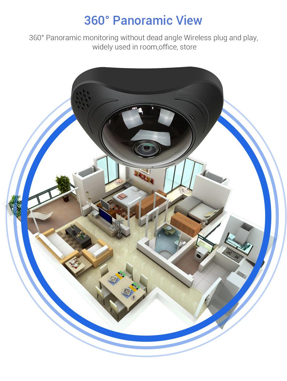 H.VIEW 360 CCTV Camera 720P IP Camera Wifi Cameras 960P Camara IP 1200TVL Fisheye Video Surveillance Cameras (4)