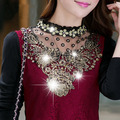 New 2015 Hot Fashion Turtleneck Floral Cotton Long Sleeve Chiffon Shirt Lace Blouse Women's Blouses Plus Size Clothing 13B 23