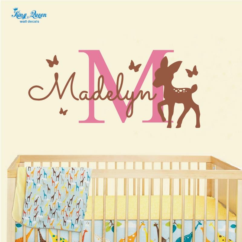 personalisierte name decals hirsch mit schmetterling wandaufkleber baby nursery schlafzimmer wand kunst poster diy wohnkultur mdchen - Exklusive Dekoration