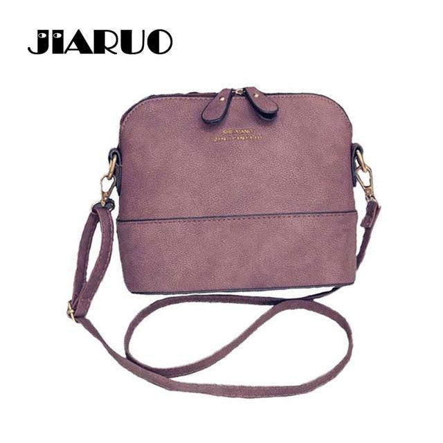 JIARUO Korean Retro Suede Bag Leather Women Small Shell Do Old Messenger  Bag CrossBody Bag Lady 6e45af995b527