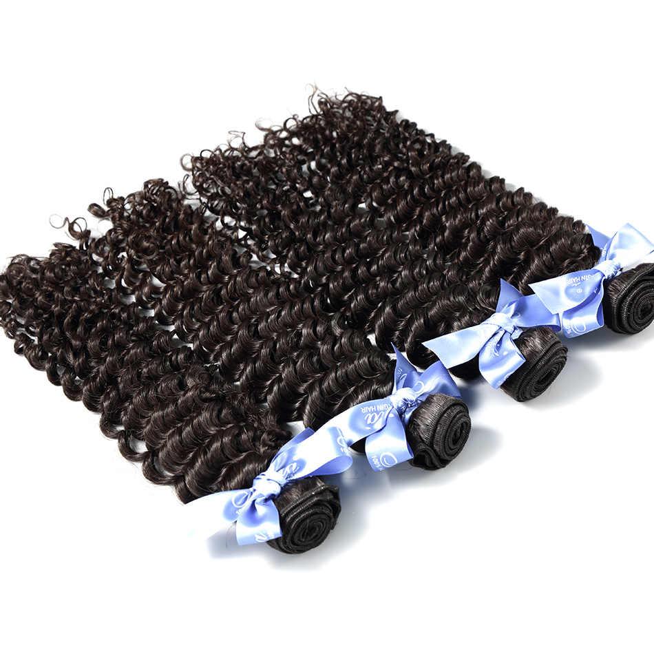Pelo Ilaria Pelo Rizado malasio Deep Wave 4 mechones sin procesar mechones de cabello humano postizo Natural Color suave y cómodo