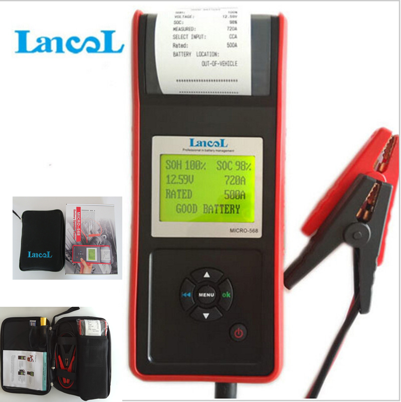 LANCOL MICRO-568 Car Battery Load Tester 2000CCA Battery Tester Analyzer With Printer Battery System Tester Diagnostic Tool new 12v battery load display testing system tester alternator tool with clips