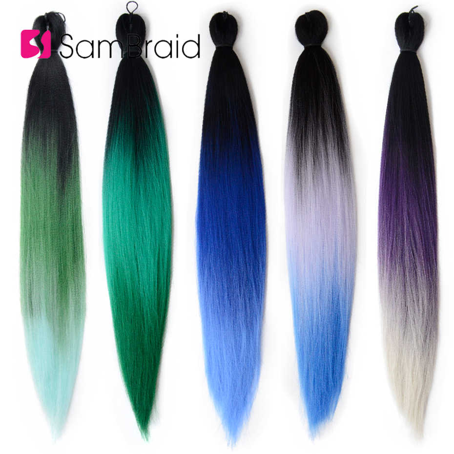 Sambraid Easy Braid synthetic Hair For Braid Pre-Stretched Ombre Crochet Braid Hair Extensions 24inch For Black Women
