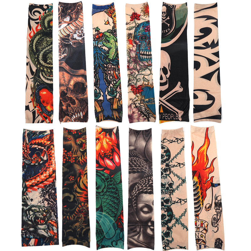 12pcs Temporary Tattoo Sleeves Men Print Nylon Sun Protective Arm Stockings Women Outside Hiking Riding Anti Sun Tattoo Sleeve