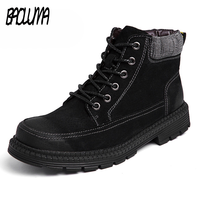 Male Autumn Winter Fur Men Boots 2018 Warm Snow Boots Men Split Leather Work Shoes Men Footwear Fashion Rubber Ankle Shoes zenvbnv winter leather men boots work casual boots men keep warm shoes male rubber snow cow suede leather ankle boots for men