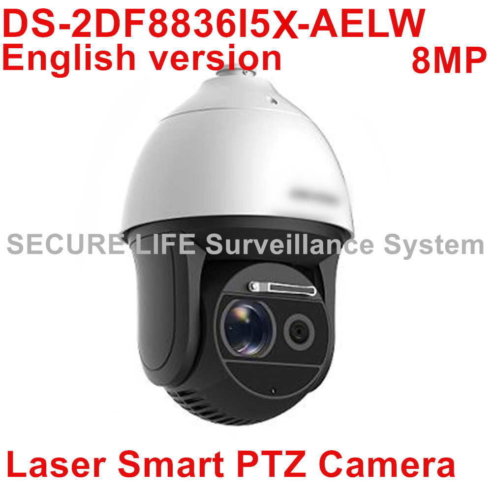 Free shipping DS-2DF8836I5X-AELW 4K Laser Smart CCTV IP PTZ Camera POE 4K 8MP with wiper 36x optical zoom 500m IR H.265+ 2017 new ds 2df8836iv aelw english version 4k smart ir ptz camera poe camera with wiper