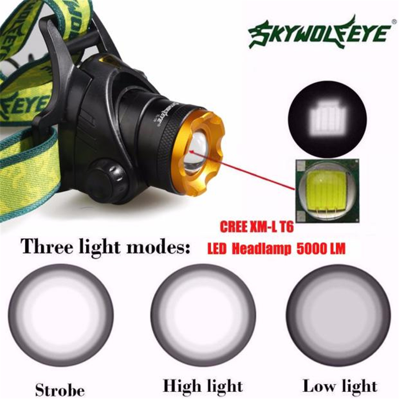 New 5000LM Led Headlamp Zoomable Headlight Waterproof Head Torch flashlight Head lamp by 18650 Battery Bicycle Light #FS#4MY14