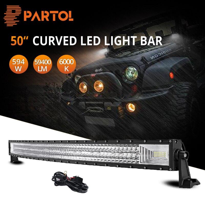 Partol 50inch 3 Row LED Light Bar Curved Tri Row LED Bar 12V 24V Combo Beam
