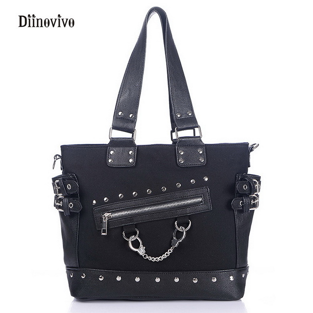 DIINOVIVO Rock Style Rivet Handbag Fashion Women Punk Casual Tote Zipper Chain Female Motorcycle Shoulder Crossbody Bag WHDV0207