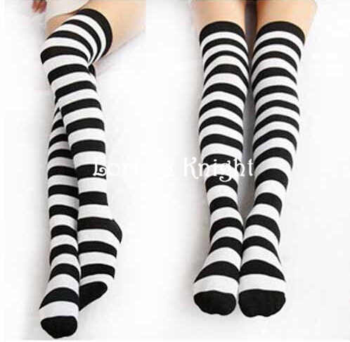 7d04e0eb01bfd Detail Feedback Questions about College Style School Uniform Black and  White Stripes Over Knee Thigh High Stockings on Aliexpress.com | alibaba  group