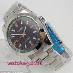 39mm Bliger czarna tarcza Top marka luksusowe romantyczne prezenty szafirowe szkło automatyczny ruch zegarek męski w Zegarki mechaniczne od Zegarki na