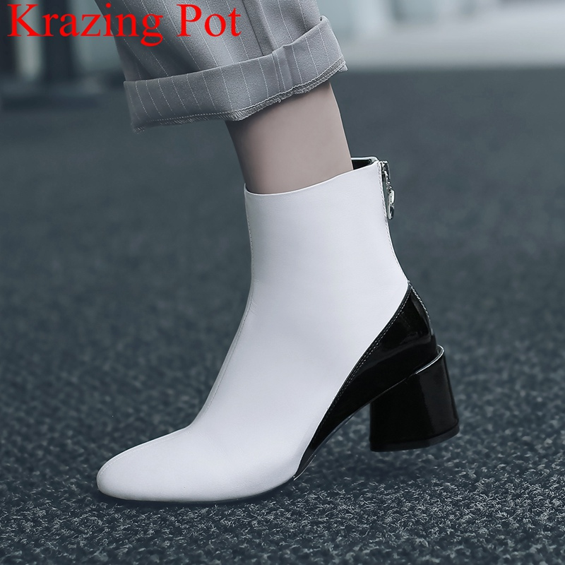 Krazing Pot 2018 genuine leather round toe solid zipper ankle boots square heel mixed colors sweet office lady winter shoes L1f2 krazing pot winter kid suede cow leather patch work high heel basic boots winter zipper round toe office lady ankle boots l12