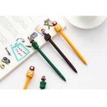 30 개/몫 Kawaii 슈퍼 마리오 0.5mm 블랙 잉크 젤 펜 만화 학교 학생 사무 용품 문구 도매