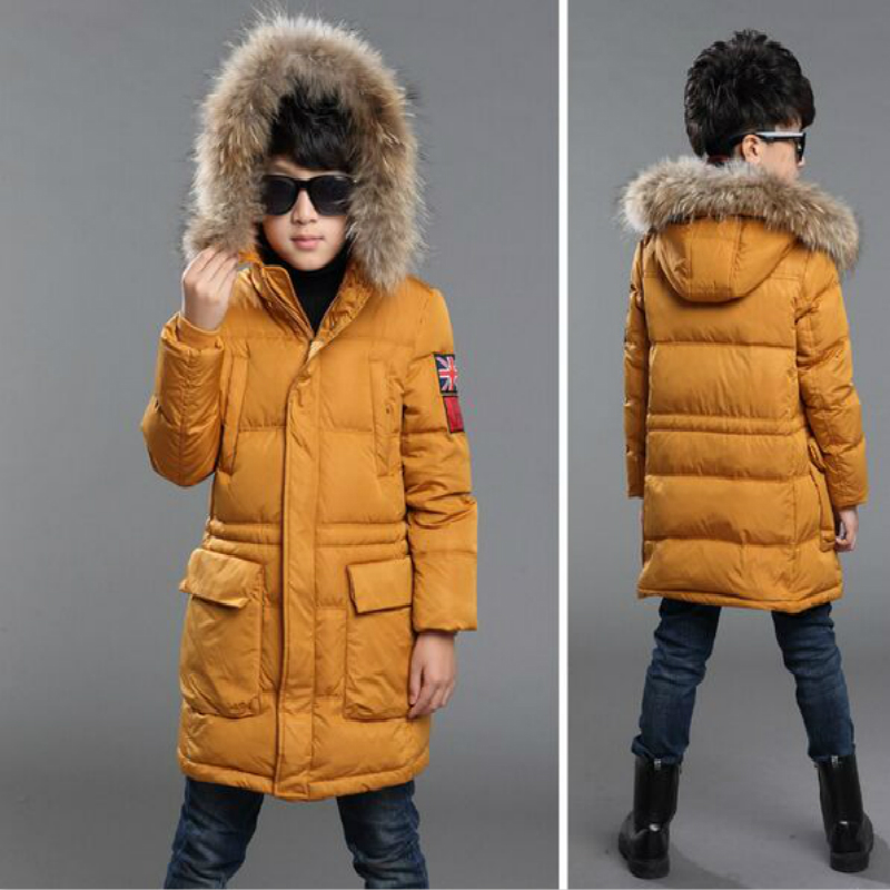 Winter Fur Hooded Jackets For Boys Cotton Padded Coats Thickeing Warm Children Parka Brand Patches Teenage Kids Outerwear 6-14Y 2017 boys winter jackets coats fashion hooded warm winter jacket for boys kids cotton outerwears coats for 10degree boys parkas