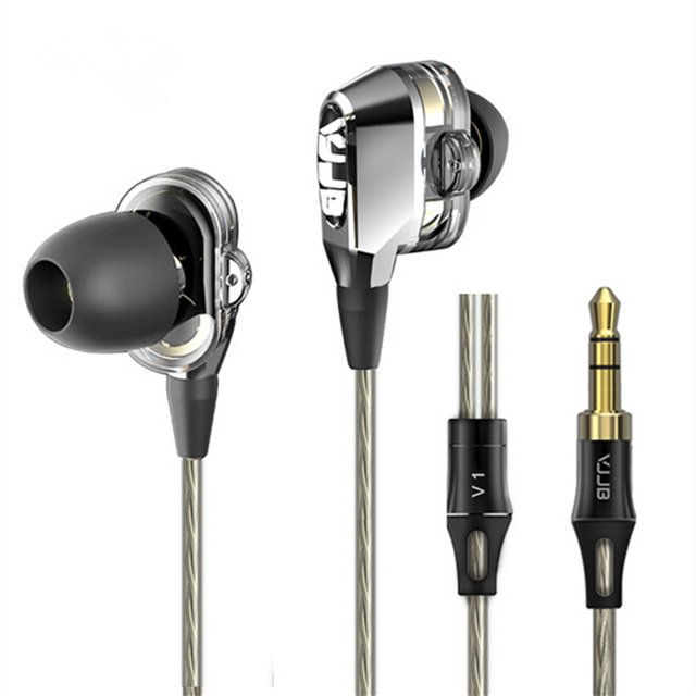 VJJB V1 V1S 4 Speakers HIFI Quality Sound Metal In Ear Earphone Earbud Double Circle Hifi Subwoofer Monitor Earphones Earbuds радиотелефон dect panasonic kx tg1611rur красный