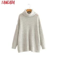 Jerseys de mujer Tangada suéteres de cuello alto de gran tamaño moda de invierno 2019 abrigo largo manga de murciélago sweate de Navidad HY135