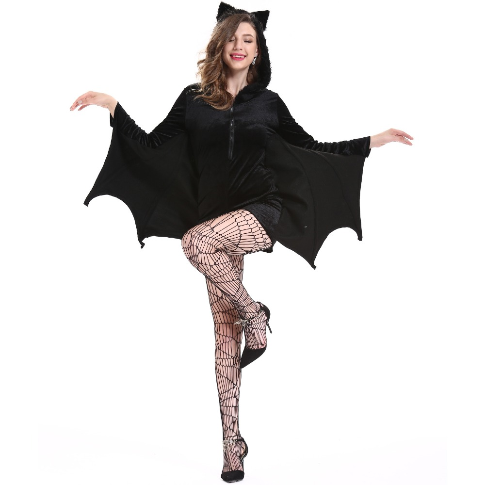 <font><b>Halloween</b></font> <font><b>Sexy</b></font> <font><b>Vampire</b></font> <font><b>Costume</b></font> Women Black Evil Bat Hoodies Jumpsuit Clothes Masquerade Carnival Role Playing <font><b>Costumes</b></font> Plus Size image