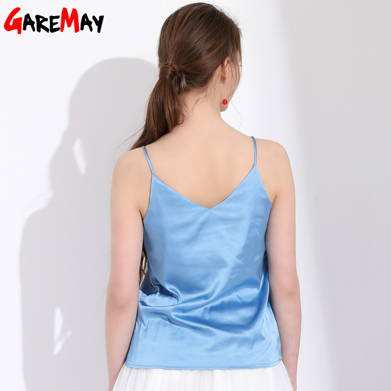GAREMAY Sexy Silk Top Tank Women Slim Sexy Sleeveless Shirt Womens Basic Camisole Halter Tank Top