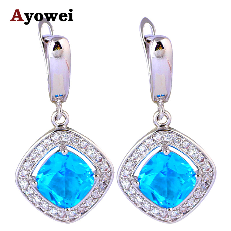 Blue Zirconia Earrings for Women Silver Stamped font b Health b font and font b Beautiful
