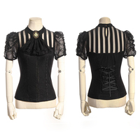 Steampunk Gothic Women Short Sleeve Shirt Rock Punk Sexy Transparent Lace Blouses With Detachable Necktie Classical