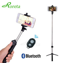 Roreta 3 In 1 Wireless Bluetooth Selfie Stick Mini Tripod Dapat Diperpanjang Monopod Universal Pau De Palo untuk iPhone X 8 7 6 S Samsung(China)