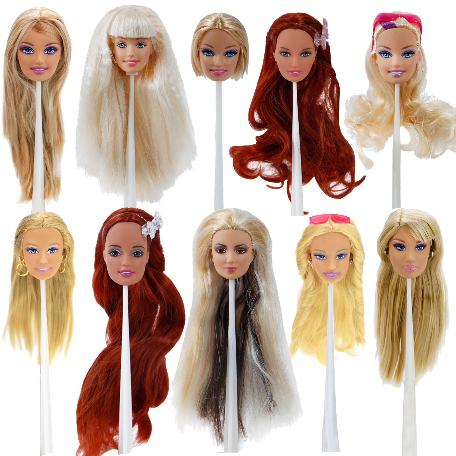 High Quality Fashion Doll Head Mixed Style Face Makeup Straight Curly Hair Mix Style Accessories For 12
