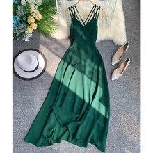 2019 Summer New Sexy Halter Dress Trim Thin Evening Holiday Beach Women Sleeveless Elegant Vestidos G337