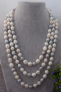 NEW Natural 80'' Multi color Baroque pearl Necklace 8 9mm necklace women's jewelry silver