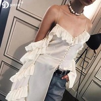 JOYDU Runway Long Sleeve Top Stain Silk Sexy Shirt 2018 Fashion Asymmetric Off Shoulder Ruffles Buttons Womens Tops And Blouses