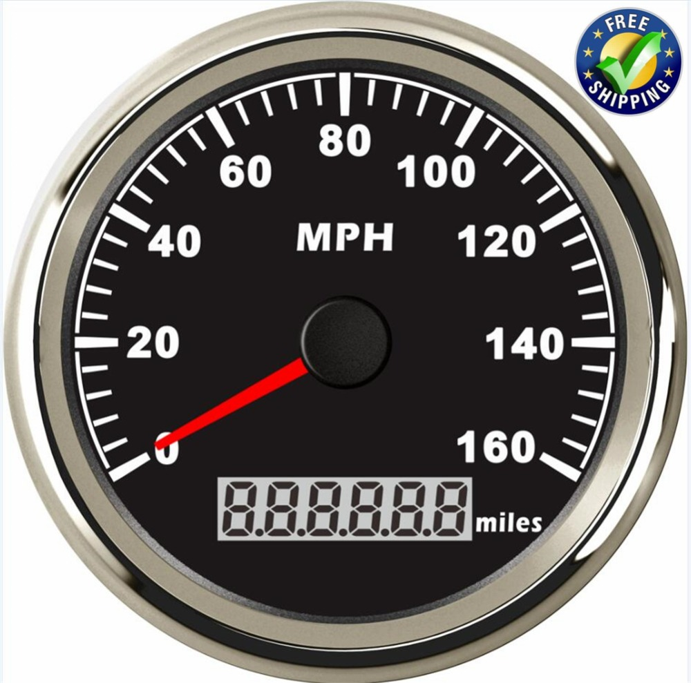 85mm GPS Speed Indicators Automotive Instrument Panel Speedometers Gauges 0-160MPH LCD Display with GPS Antenna for Auto Boat 1pc brand new auto tuning gauges 85mm gps speedometers 0 200km h lcd speed indicators with red backlight and antenna for sale
