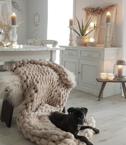 Image 5 - CAMMITEVER Manta de punto de lana gruesa a la moda, 6cm, lana de Merino de hilo grueso, manta de punto gruesa