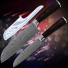 "Globale Verkauf Japanischen Stil Messer 7 ""5"" Santoku Messer Doppel Stahl Kopf Muster Klinge Edelstahl Küchenmesser 2 Stücke Set"