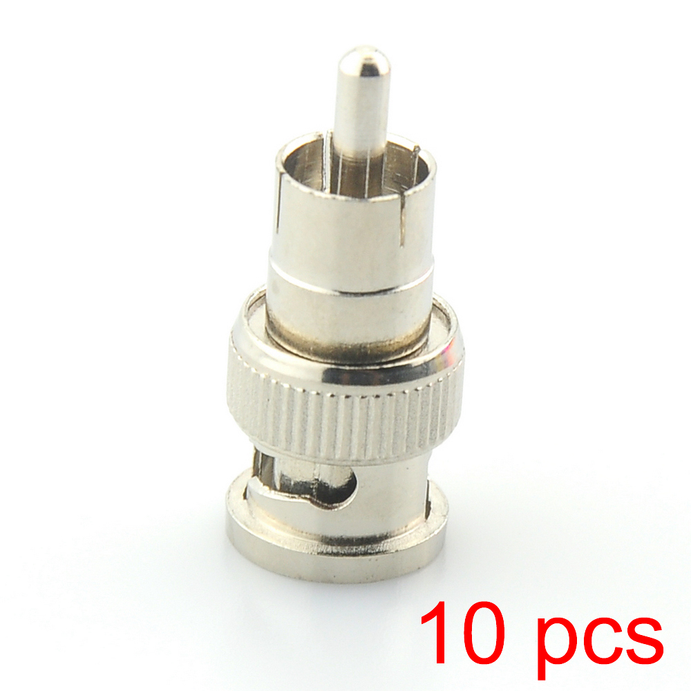 10x BNC Male To RCA Male Coax Connector Adapter Cable Coupler For CCTV Camera