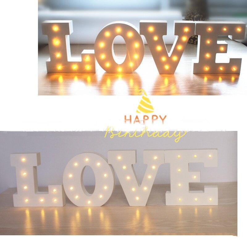15 см Белый Деревянный Письмо Luces Led Decoracion ночник знаковое событие Алфавит Загораются огни лампа домашние стены украшения