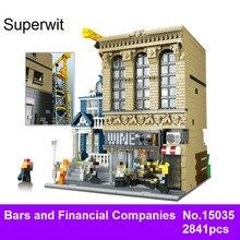Superwit 2841 Pcs LEPIN 15035 Creative MOC Les Barres Et Sociétés Financières Blocs de Construction Briques Jouets Éducatifs Pour Enfants Cadeau
